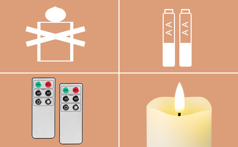 realistic battery operated candles with remotes, set of 12