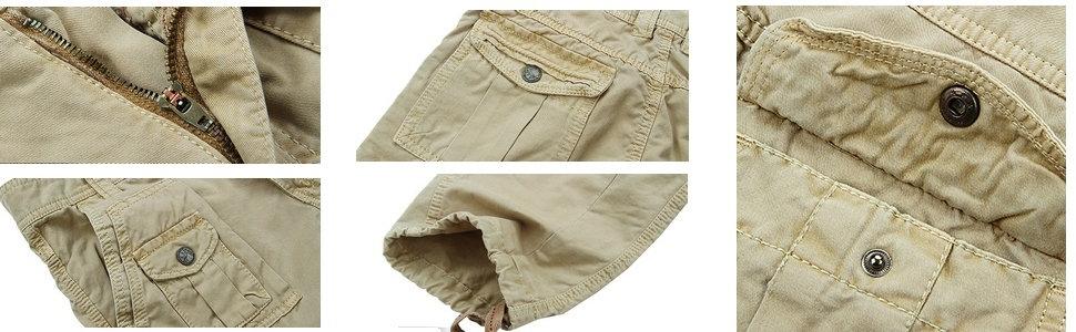 details for the khaki cargo pants