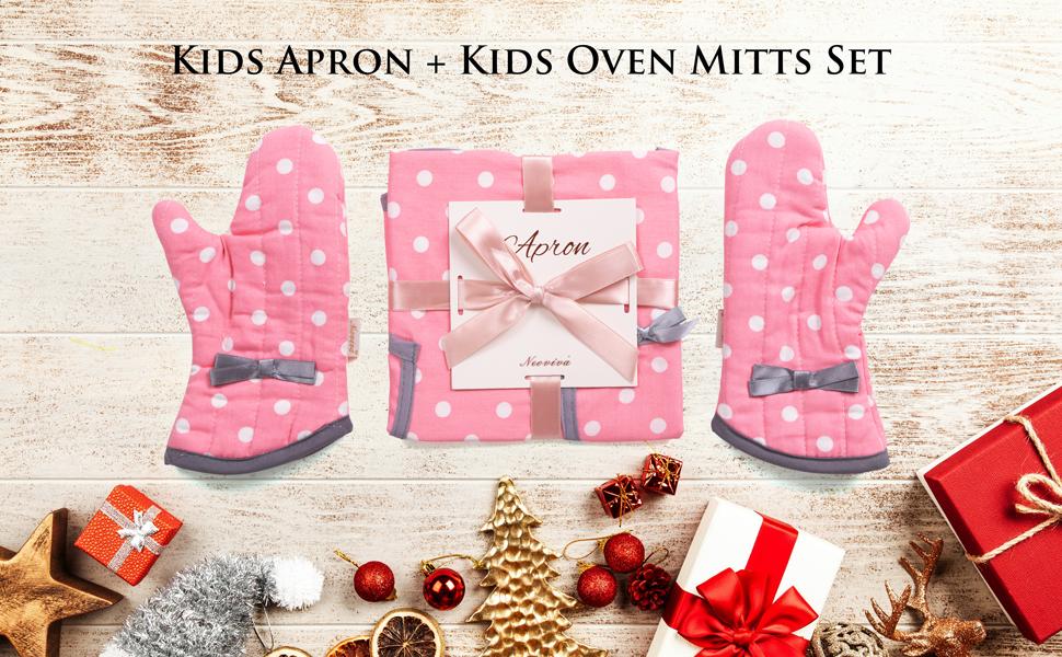 NEOVIVA Kids Apron and Kids Oven Mitts Set for Girls