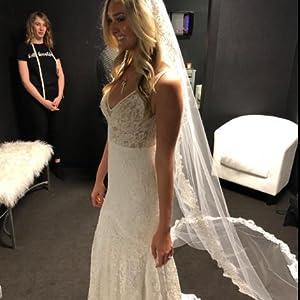 Tsbridal Bohemia Mermaid Wedding Dresses Lace Bridal Dresses Beach Garden Ivory Bridal Gowns with Pocket XC281
