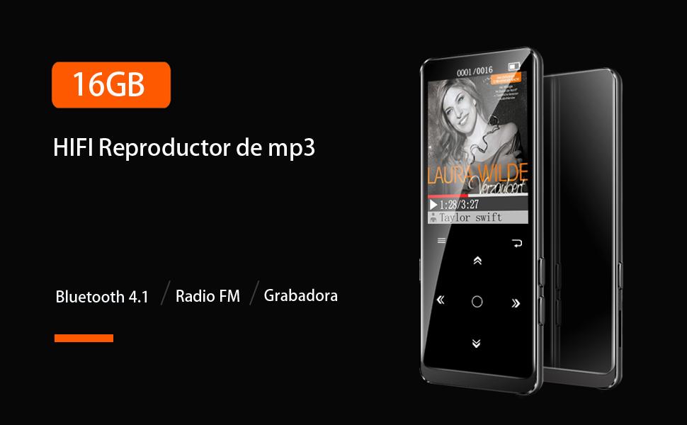 16GB Reproductor MP3 Bluetooth 4.1 HiFi SUPEREYE MP3 Player con ...