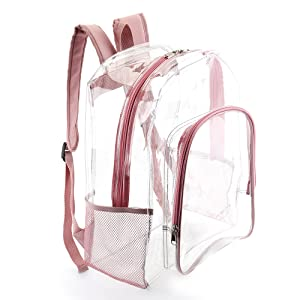 clear backpack rose gold