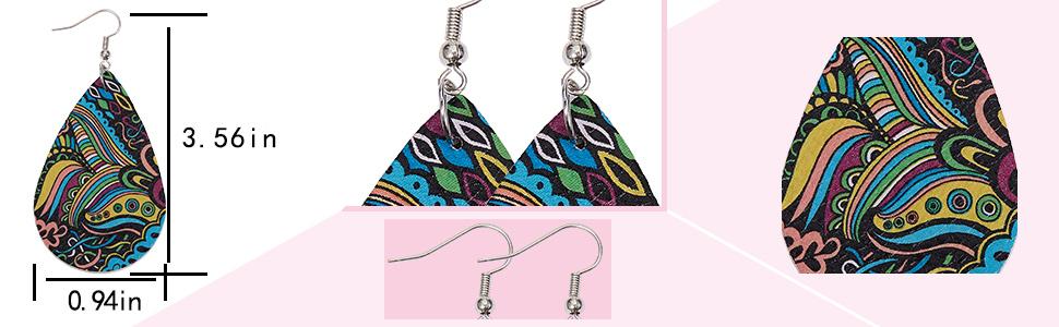 leopard print leather earrings faux leather earrings teardrop leather earrings leopard leaf earrings