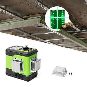 Conception durable & Facile à utiliser: ¡ñCouvercle de protection en métal: La fenêtre laser en métal surmoulée résiste aux conditions de travail dangereuses et peut être retirée et remplacée par un tournevis. ¡ñLe kit est livré avec une petite pochette pour le niveau laser, qui est dans une certaine mesure anti-poussière et anti-rayures, ce qui rend beaucoup plus pratique pour transporter et stocker l'outil laser. ¡ñLa résistance à l'eau / à la poussière IP54 vous assure de bien travailler dans des conditions de travail dangereuses. ¡ñPlaque cible verte: Augmente la visibilité du faisceau laser.
