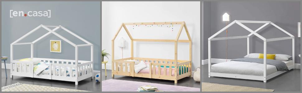 lit enfant cabane forme maison barrière anti-chutes jeux stylé design lit de jeune bois pin matelas