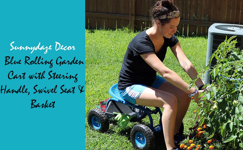 Blue Rolling Garden Cart with Steering Handle, Swivel Seat & Basket