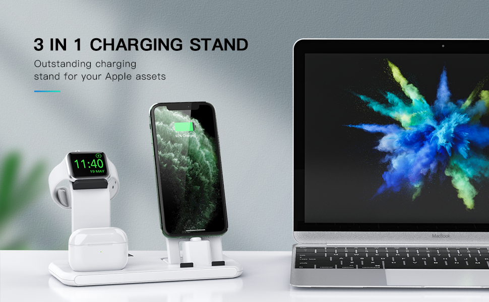 Conido 3 in 1 Charging Station for Apple Products, Charging Stand for Apple Watch Series 5/4/3/2/1