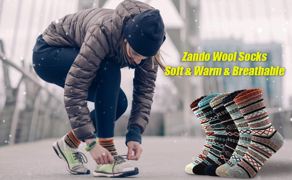 Zando Womens Wool Socks Winter Thick