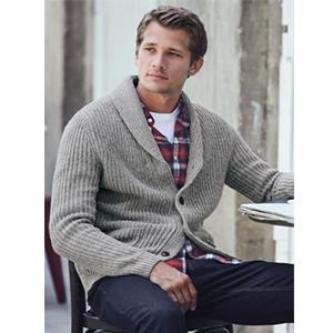 Jaycargogo Mens Winter Plaid Knit Shawl Collar Button up Cardigan Sweater Grey XXS
