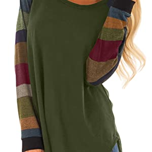 Langärmliges Tshirt Damen Herbst und Winter O-Ausschnitt Gestreiftes Longsleeve Tunika Mode Oversize