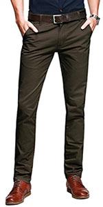 Alfiudad Men's Slim Fit Tapered Stretchy Casual Pants Chinos Work Pants Khaki