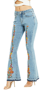Women's Embroidered Bell Bottom Jeans Stretchy Flare Denim Pants