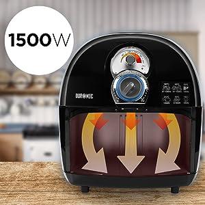 """Duronic Af1 /Bk Freidora Sin Aceite de Aire Caliente 1500W - Cocine Sin Grasas """""""" Capacidad 2,2L -Temperatura Regulable y Temporizador """""""" Incluye ..."""