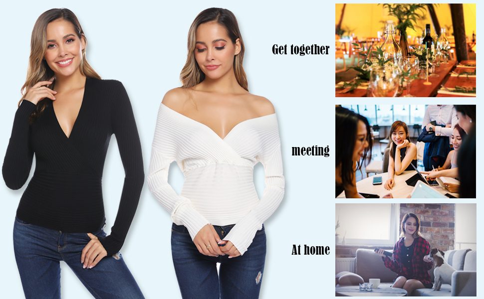Jersey de Mujer con Cuello en V de Manga Larga Envoltura Slim Fit Top Punto Jersey Sexy Suéter