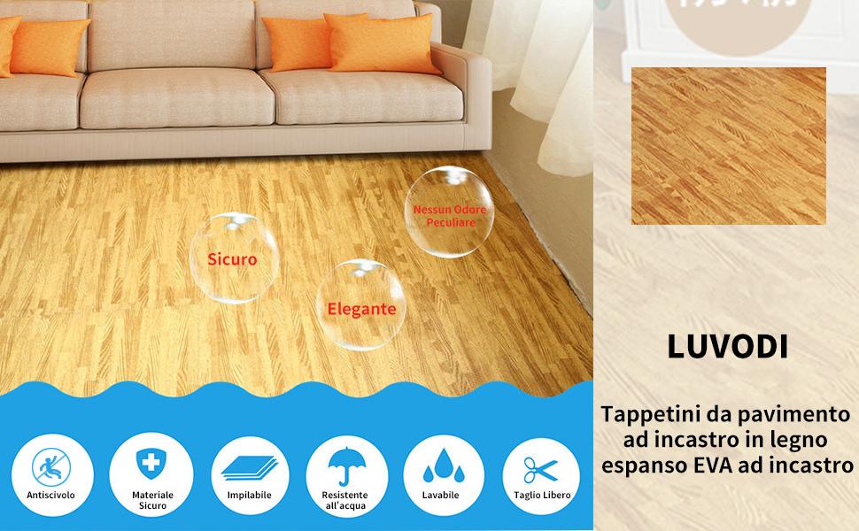 Tappetini venature di legno con piastrelle ad incastro in schiuma per Palestra Pavimento stanze 12 PEZZI