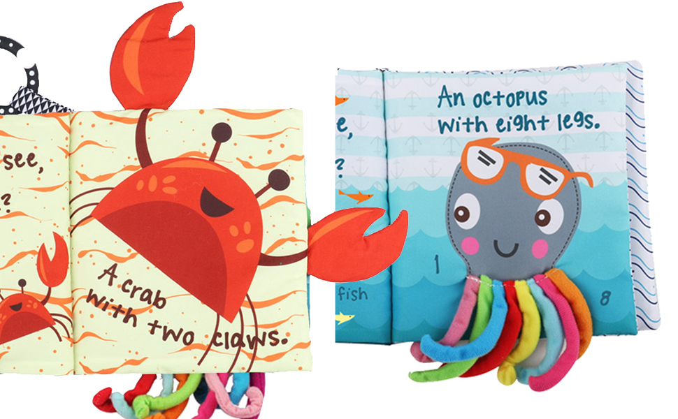 cloth books for babies soft book baby shark book baby octopus ocean theme crinkle soft books clothes