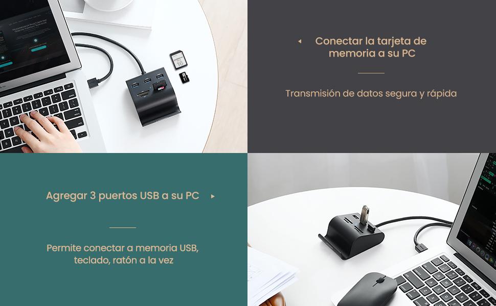 UGREEN HUB USB 3.0 y Lector Tarjeta SD TF MS M2 con Soporte Móvil, Ladrón USB 3.0 5Gbps 3 Puertos para MacBook Air, MacBook Pro, PS4, Xbox One, ...