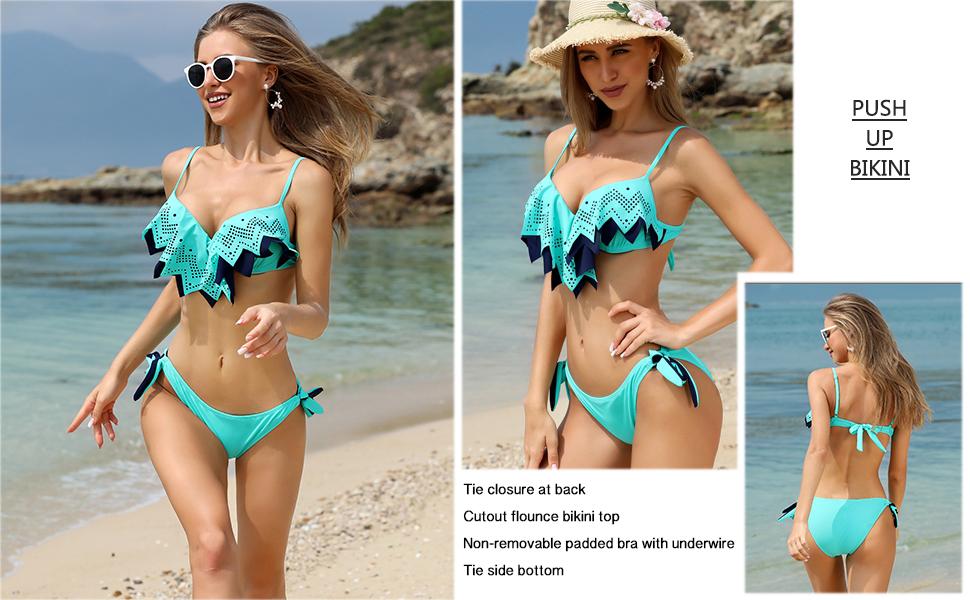 HULKY Womens Push Up Two Piece Bikini Swimsuits Padded Swimwear Bathing Suits Polka Dot//Striped//Crystal Printed Beachwear