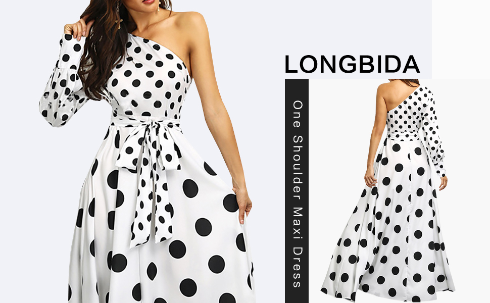 white maxi dress for women long polka dot one shoulder summer sexy party short sleeve loose flowy