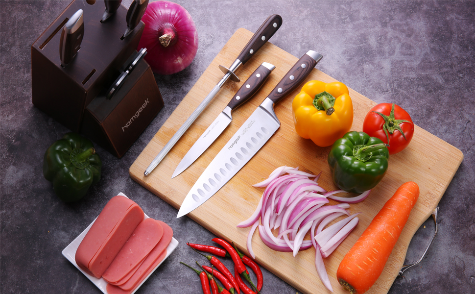 professional stainless steel  kitchen knife set 8 pieces with block