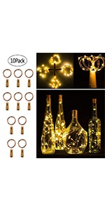 20 LED 6.5 FT Wine Bottle Cork Lights Fairy String Lights, Warm White, 10 Pack