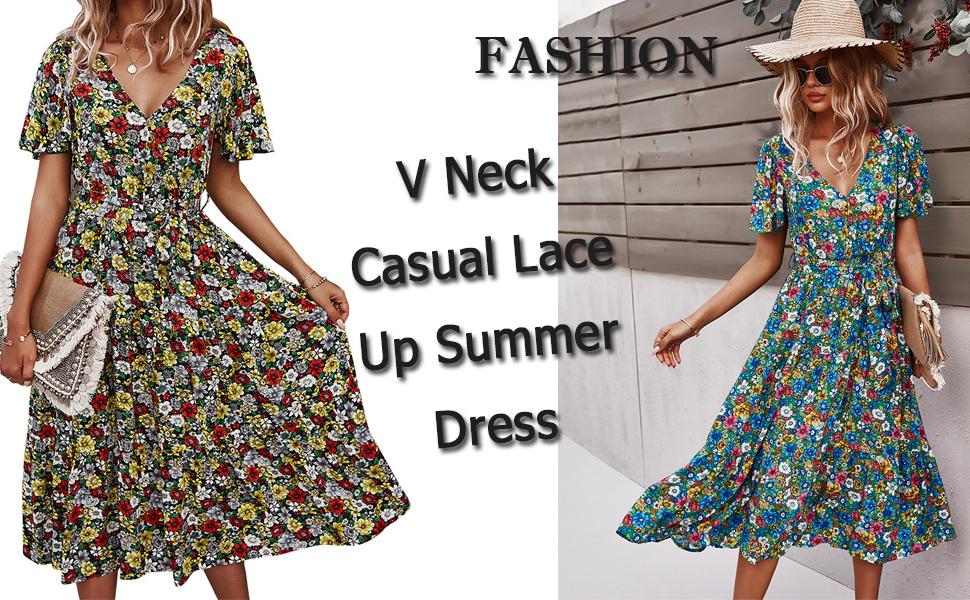 Women Floral Maxi Dress Summer Boho Beach Dress Short Sleeve V Neck Flowy Split Dress with Lace Belt