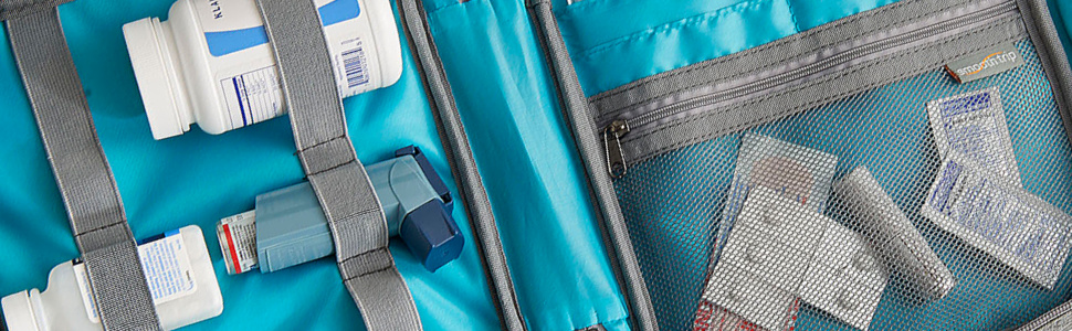 travel case organizer for prescription medications with pill pouches