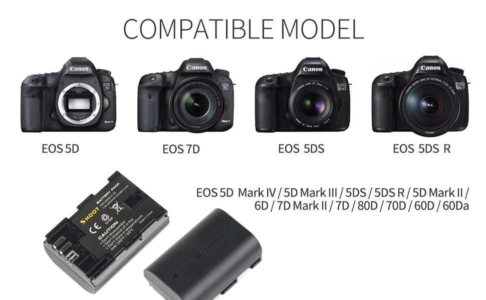 SHOOT Batería Canon LP-E6 y LP-E6N con Cargador Pantalla LCD USB ...
