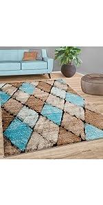 rug blue brown beige geometric