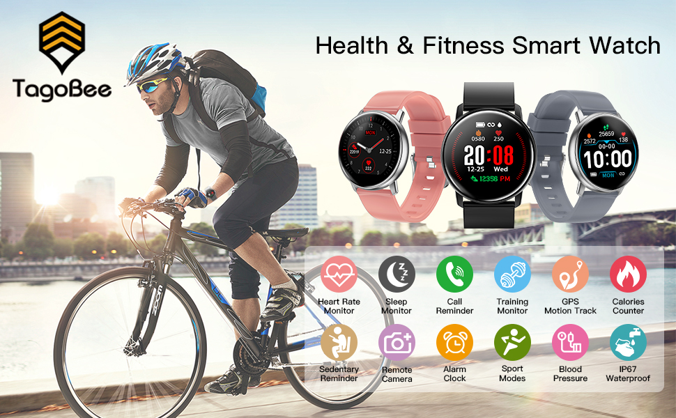 Smart Watch for Android Phone iOS Phone,Tagobee TB15 Fitness Tracker iP67 Waterproof Smartwatch with Heart Rate Monitor,Pedometer,Sleep ...