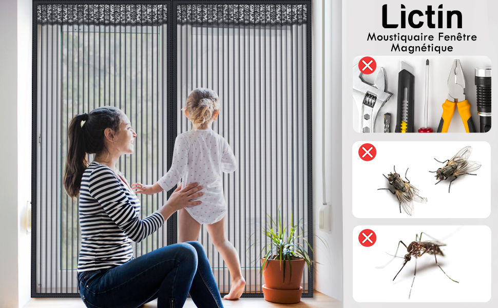 Blanc Adsorption magn/étique Pliable Facile /à Installer Moustiquaire Magn/étique 180x220cm Moustiquaire Magn/étique for Couloirs//Portes//Patio