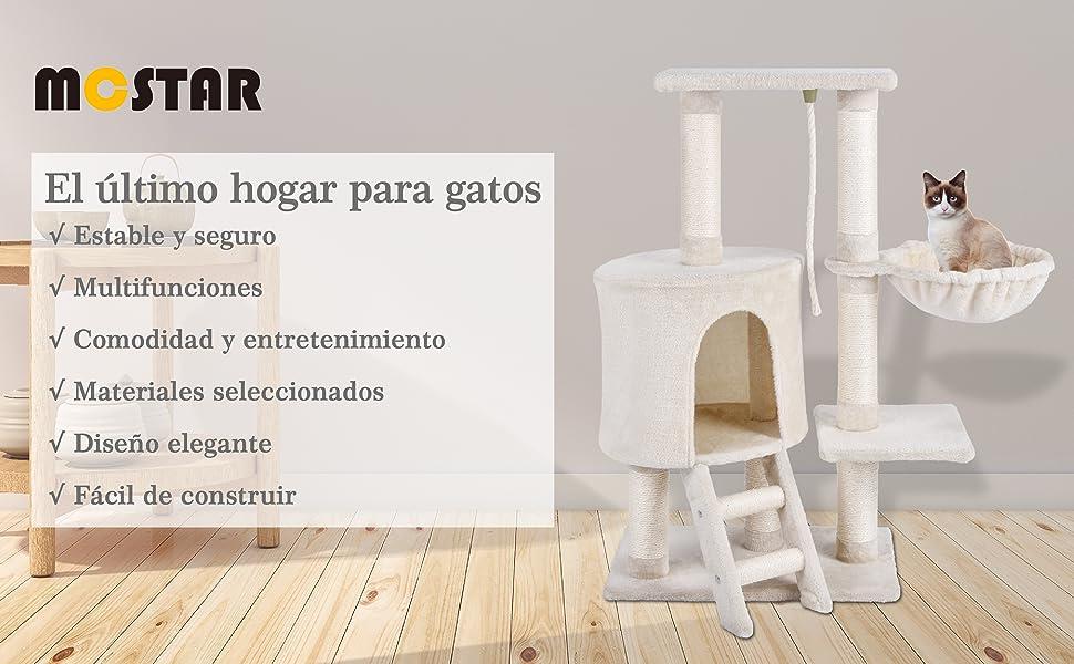 MC Star Árbol para Gato con Rascador Hamaca Plataformas Arañazo Juguete de Gatos de Sisal Natural 96cm, Beige: Amazon.es: Productos para mascotas