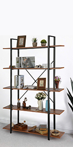 Cocina Oficina 146 x 80,3 x 30cm Himimi Estante para Libros Librer/ía Estilo Industrial de 4 niveles estanter/ía de almacenamiento para Sal/ón