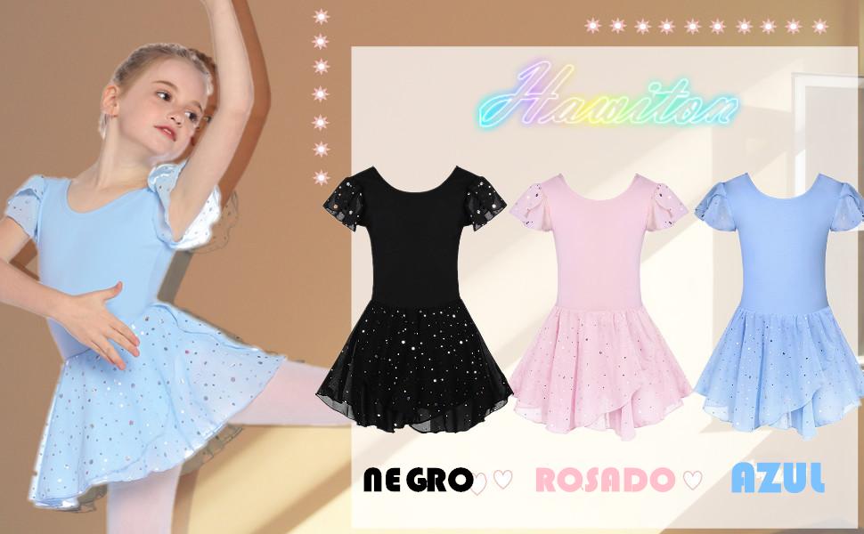 Hawiton Maillot Ballet Danza niña Tutu algodón 5-16 años,Elástico ...