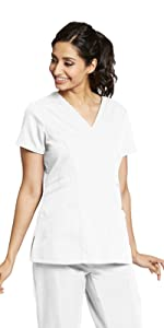 model wearing Women's Grey's Anatomy V-Neck Solid Scrub Top