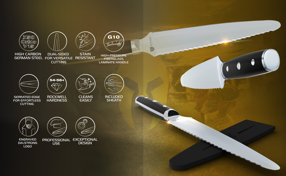 dalstrong chef knife professional gladiator serrated utility high carbon stainless