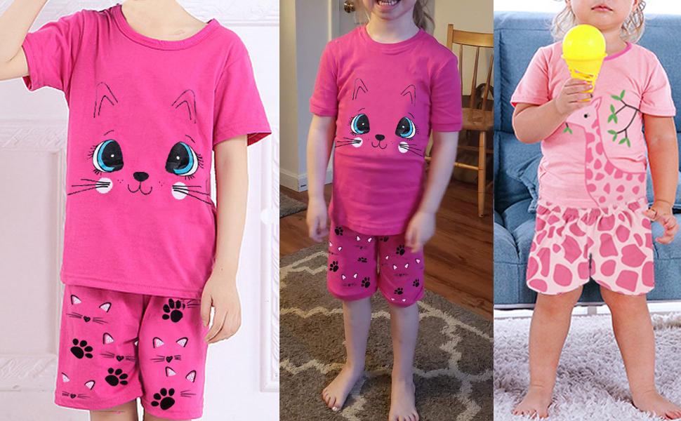 girls pyjamas girls pjs summer pjs short pjs cat pyjamas giraffe pyjamas unicorn pyjamas