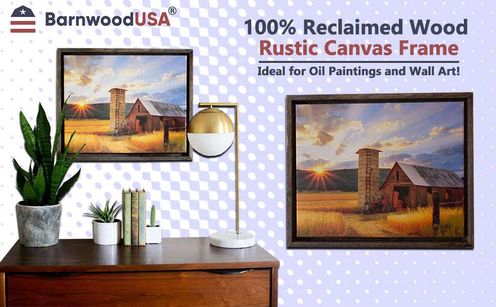 BarnwoodUSA Rustic Barnwood Canvas Frame for Oil Paintings amp; Wall Art Banner