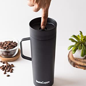 InstaCuppa Thermos Travel Mug with Handle Comes With A Unique Push Button Lid