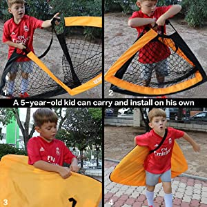 5 year old kid boy child fold carry soccer goal football target