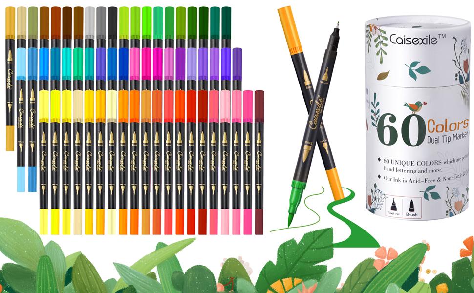 60 Color Dual Tip Brush Pens