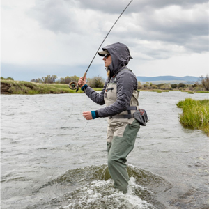 wateproof stockingfoot waders available in men and womens sizes and fit fishing angler water