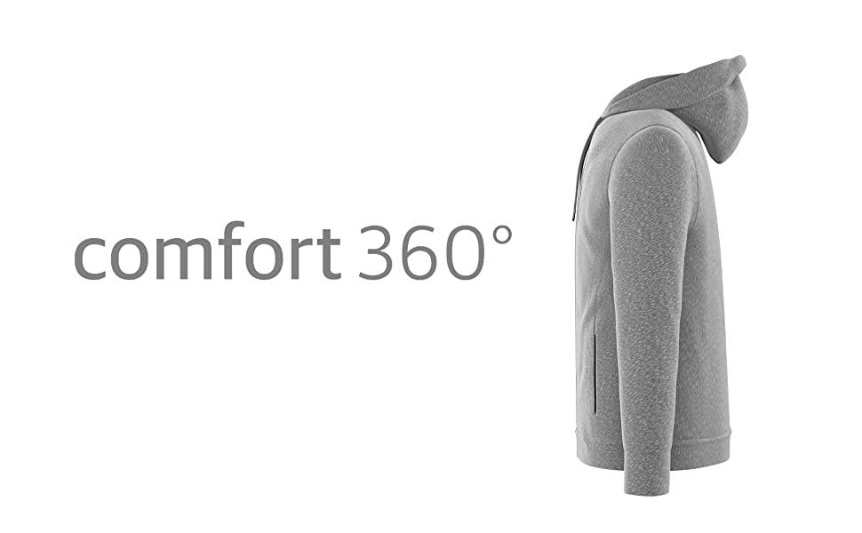 Men's Hoodies & Sweatshirts | Full Zip Up Hooded Sweatshirt Fleece - Black & Grey | Comfort 360°