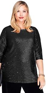 Plus Size Black Sequin Top
