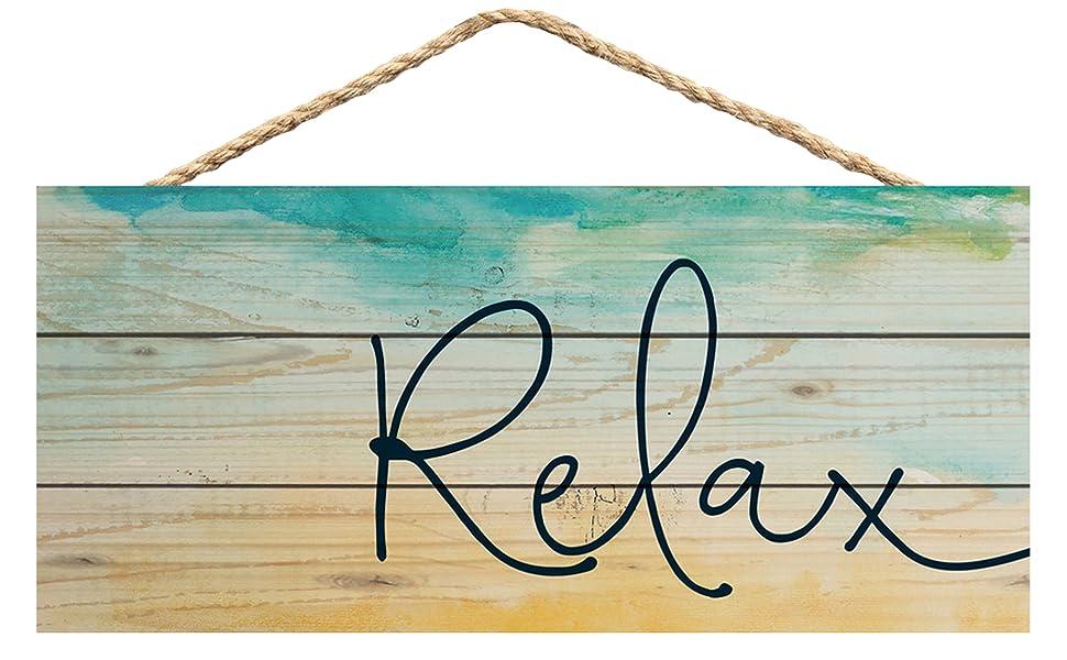 GRAHAM DUNN Relax Seashore Printed 10 x 4.5 Wood Wall Hanging Plaque Sign P Graham Dunn P