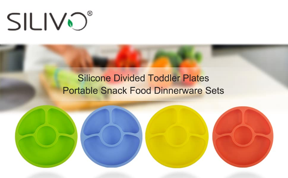 Silicone toddler plates with divided for children and adults