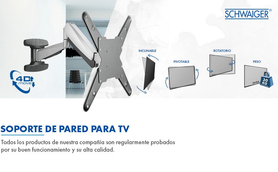 SCHWAIGER -9444- Soporte de pared para TV inclinable- giratorio para pantallas con 58-140 cm (23-55