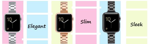 thin elegant metal Apple watch band