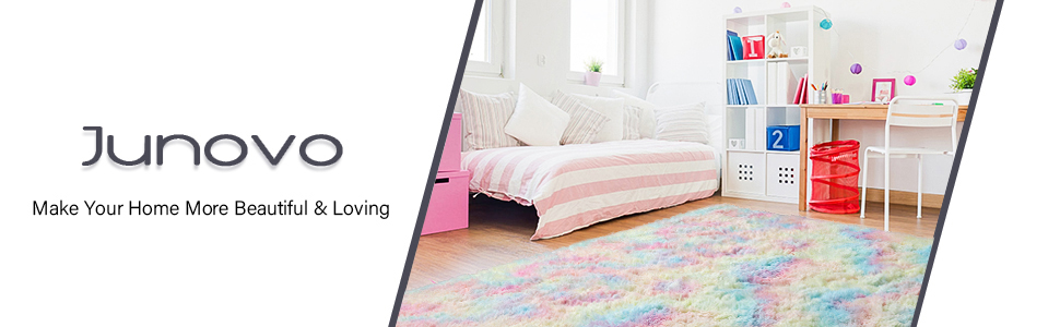 rainbow area rug - Junovo Soft Rainbow Area Rugs For Girls Room, Fluffy Colorful Rugs Cute Floor Carpets Shaggy Playing Mat For Kids Baby Girls Bedroom Nursery Home Decor, 4ft X 6ft