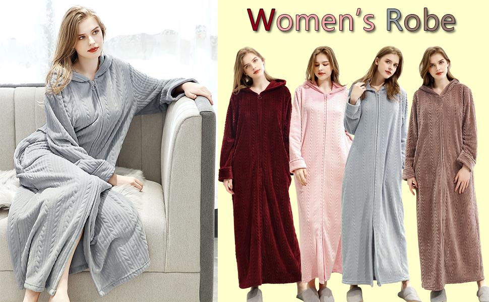 Women/'s Long Zipper Front Robes Fleece Robe Zip-Front MEISHA Zip Robes Zipper Front Robes Full Length Zip Up Robe Long Zip Front Robe